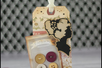 Vintage Button Card Tag