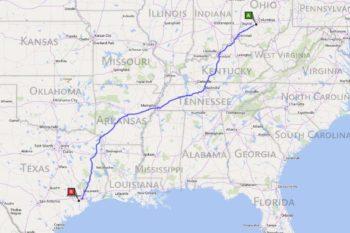 ohio to texas map